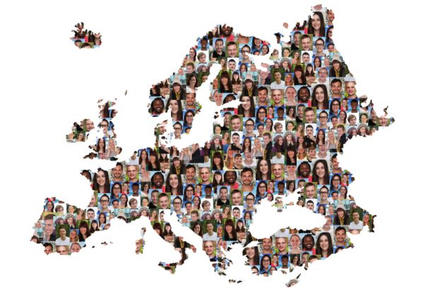 Map of Europe with people's faces