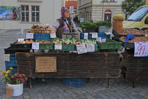 Market seller in Brno