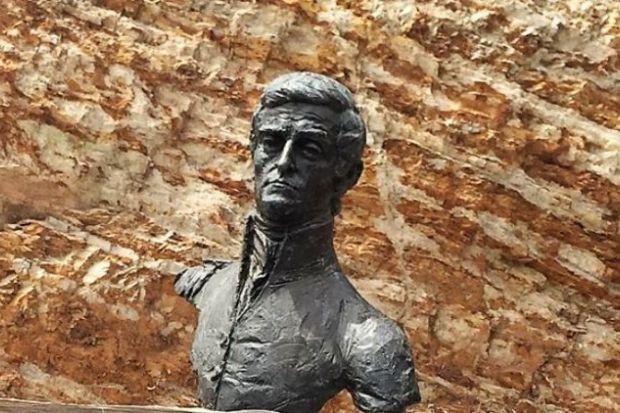 Bust of explorer Matthew Flinders at Flinders University's Bedford Park campus