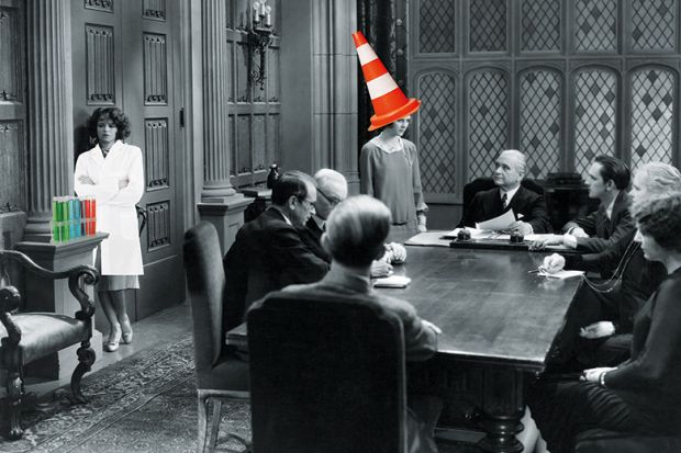 Meeting with traffic cone on head