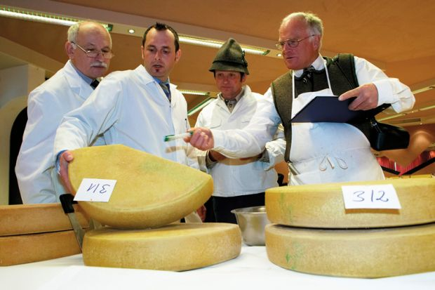 Men inspecting cheeses