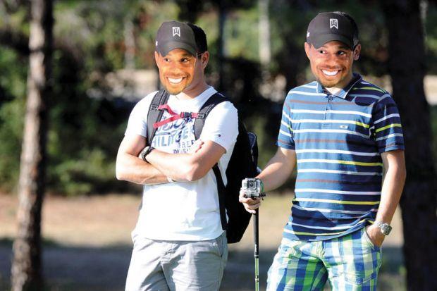 Men wearing Tiger Woods masks, Turkish Airlines Open Golf Tournament, 2013