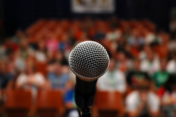 Microphone on stage ahead of speech