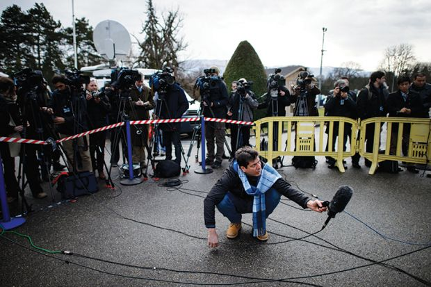 Journalists gathered