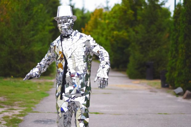 A man made of mirrors symbolising the social sciences' muliple perspectives