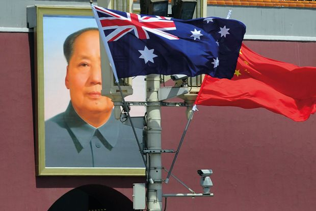 mao australia china flags