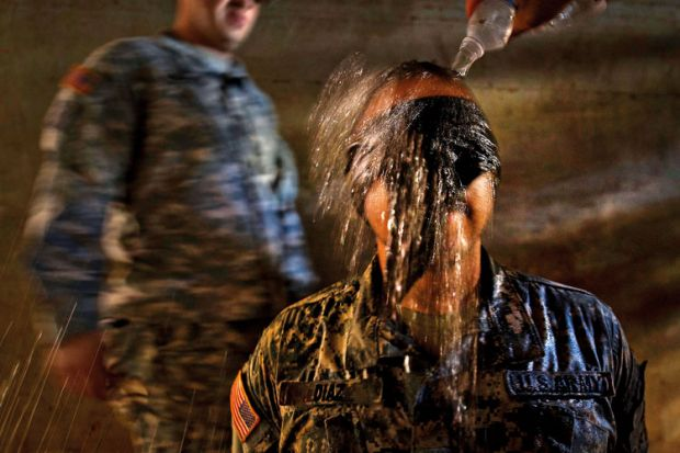 Mock interrogation simulating waterboarding