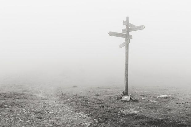 Moors roadsigns in fog
