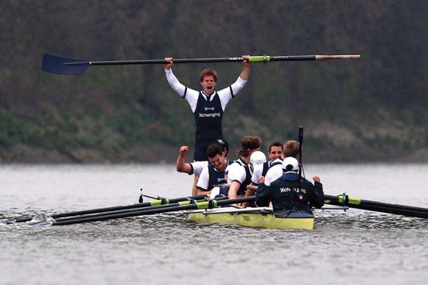 Moritz Hafner celebrates Oxford and Cambridge University Boat Race win