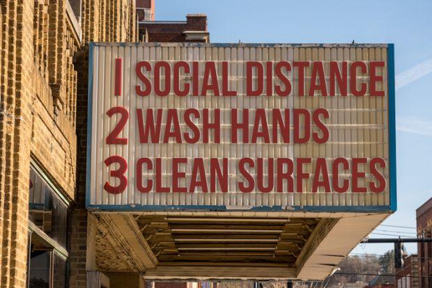 Movie cinema billboard with three basic rules to avoid the coronavirus
