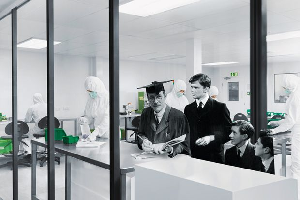 Mr Chips in a modern laboratory