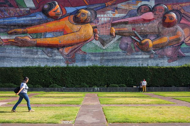 Mural on a campus in Mexico City