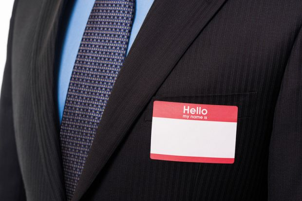 Businessman wearing blank name badge