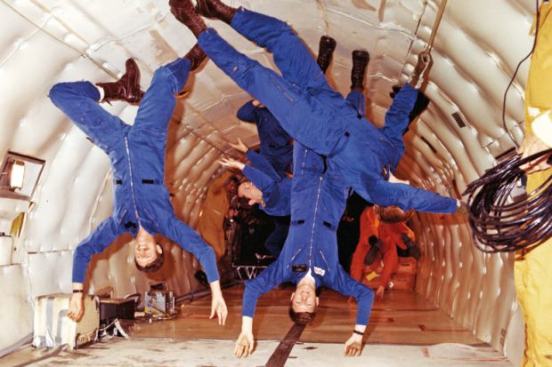 NASA astronauts, weightlessness training, Boeing KC-135 Stratotanker, 1978