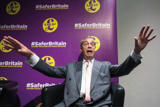 Nigel Farage, Ukip, giving Vote Leave/Brexit speech, Westminster, London