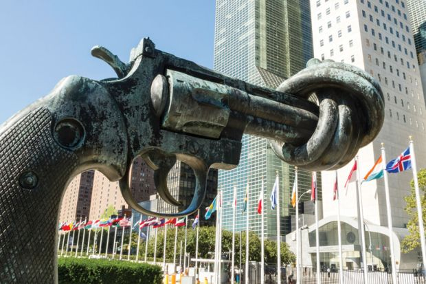 Non-violence sculpture, Carl Fredrik Reuterswärd, United Nations (UN) headquarters, New York City