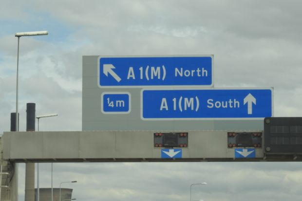 North and South motorway signs