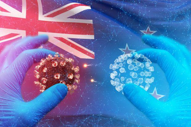 The coronavirus on a New Zealand flag