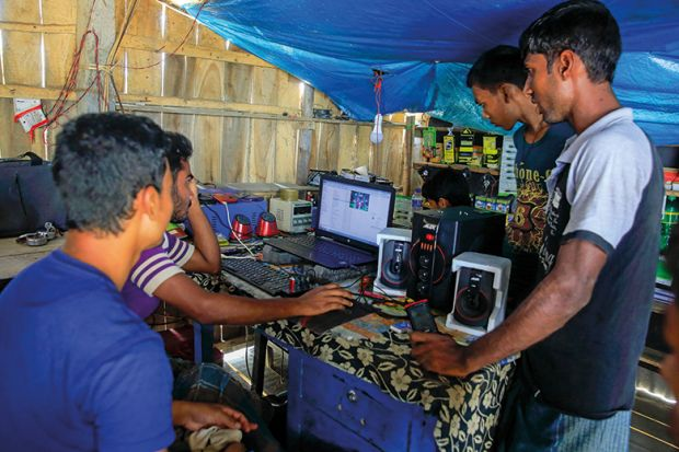 Young people using internet, India