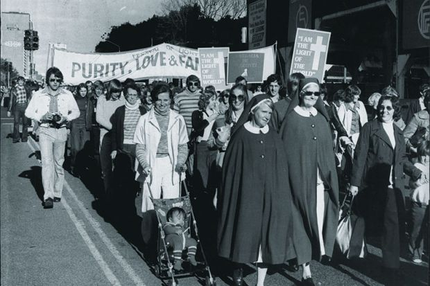 Part of the march in Park Street – the Festival of Light demo in Hyde Park for Concern of Purity, Love and Family Life, 1976