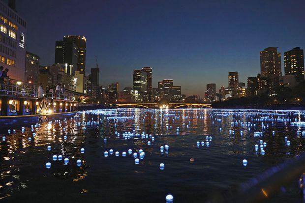 LED lights on the river running through Osaka