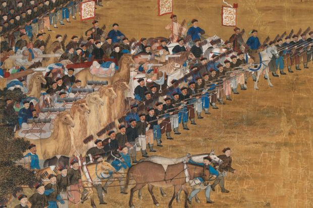 Painting of Chinese warriors riding into battle
