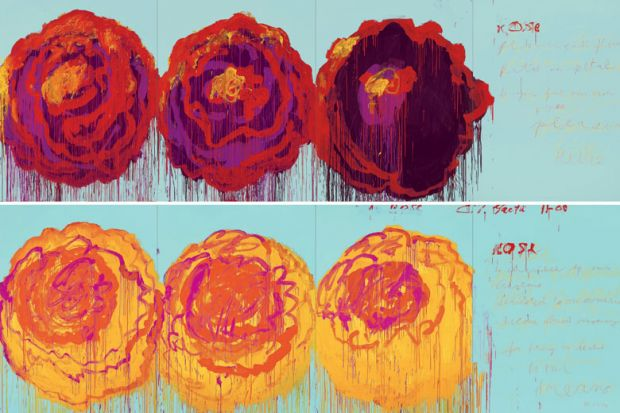 Paintings of roses, by Cy Twombly