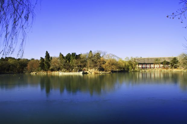 Panoramic landscape of Weiming lake in Peking University