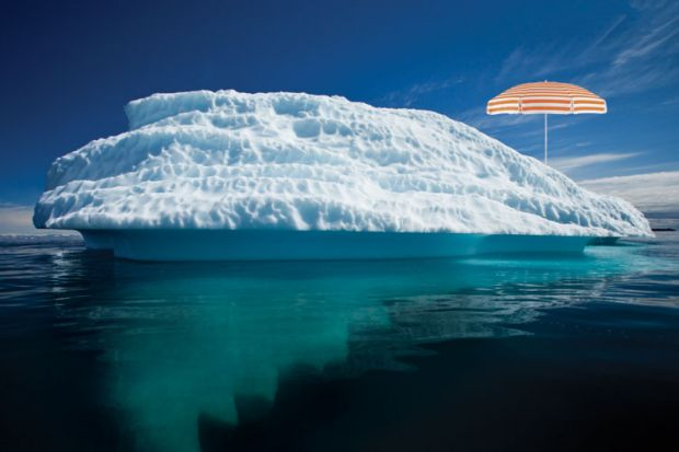 Parasol on iceberg, Disko Bay, Greenland