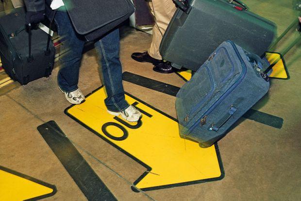 passengers exit airport