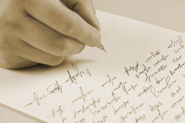 Pen hand writing letter