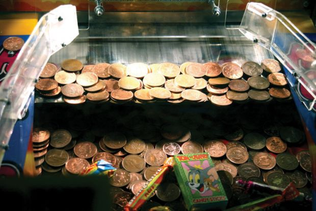 Penny game in amusement arcade