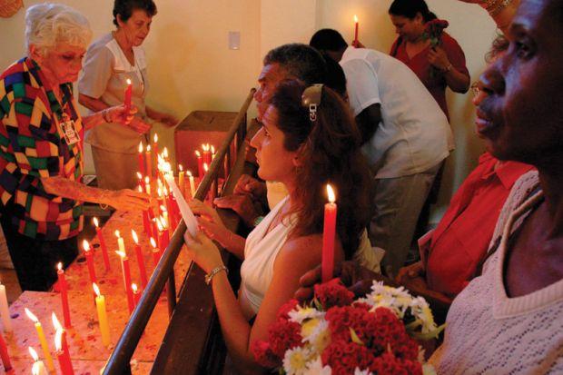 People honouring Saint Barbara, Parraga's Church, Havana, Cuba