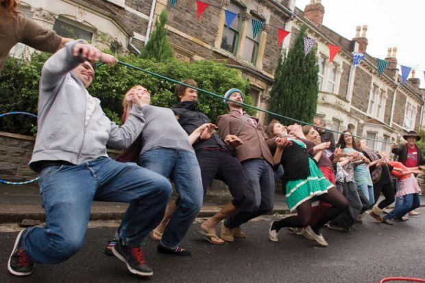 People limbo dancing, Bristol, 2010