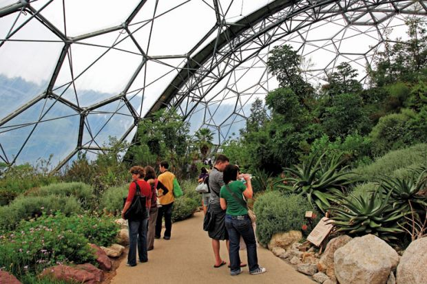 People visiting Eden Project
