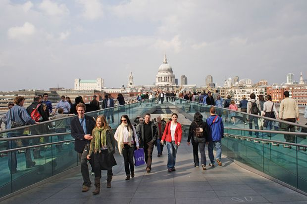 People on Millennium Bridge, London