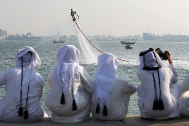 People watching Flyboard World Championship qualifier, Doha, 2012