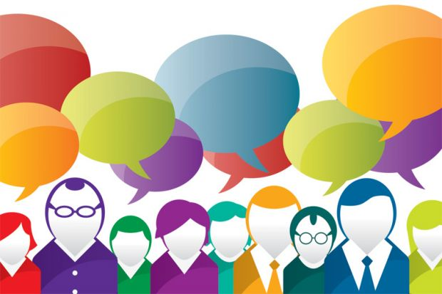 People with speech bubbles above heads (illustration)