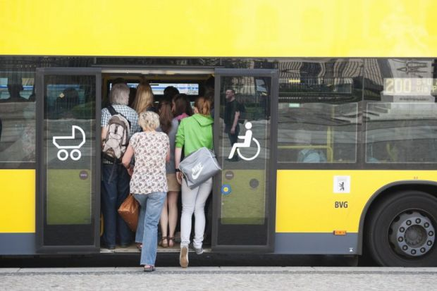 People crowding on to BVG bus