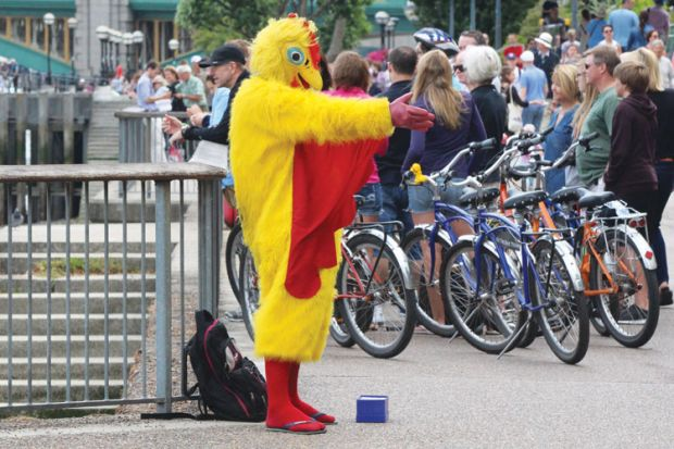 Person dressed as chicken, London South Bank