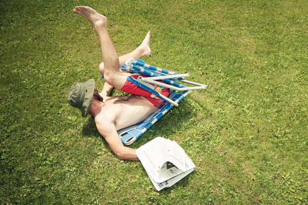 Person trapped in deckchair