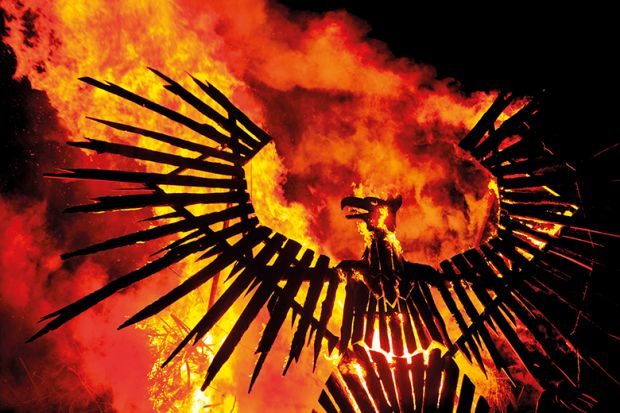 A phoenix rising from flames