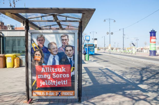 Picture of a billboard from Fidesz, the political party Hungarian PM Viktor Orban against the opposition, accusing it of being friends with billionaire George Soros, during the campaign for the 2018 parliament elections in Hungary