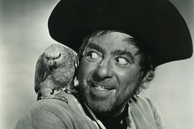 Pirate with parrot on shoulder