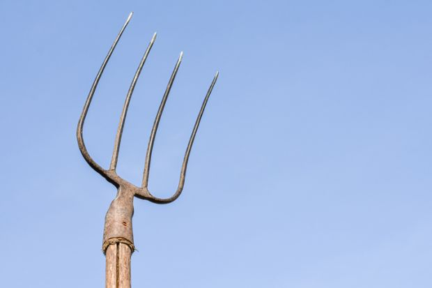 Pitchfork raised to the sky