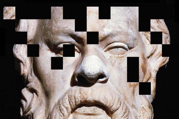 Pixelated bust of Socrates