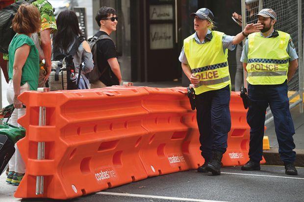 Police directing pedestrians