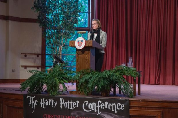 "Karin Westman, associate professor of English at Kansas State University, speaks on ""Blending Genres and Crossing Audiences: Harry Potter and the Future of Literary Fiction."""