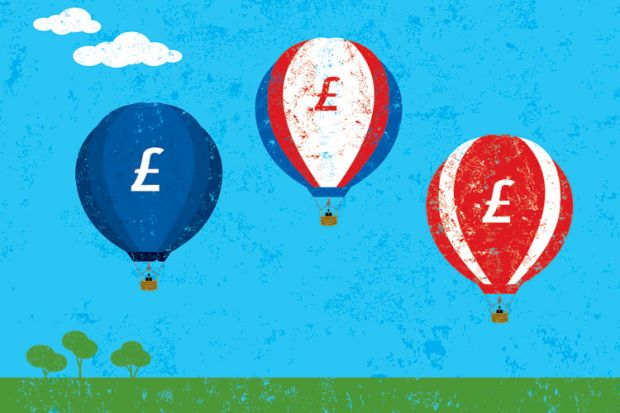 Pound symbol balloons (fee rise) illustration