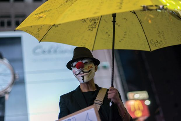 Pro-democracy protester, Causeway Bay district, Hong Kong, 2014